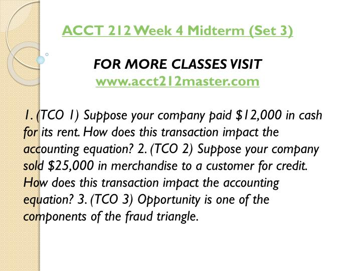 ACCT 212 Week 4 Midterm (Set 3)