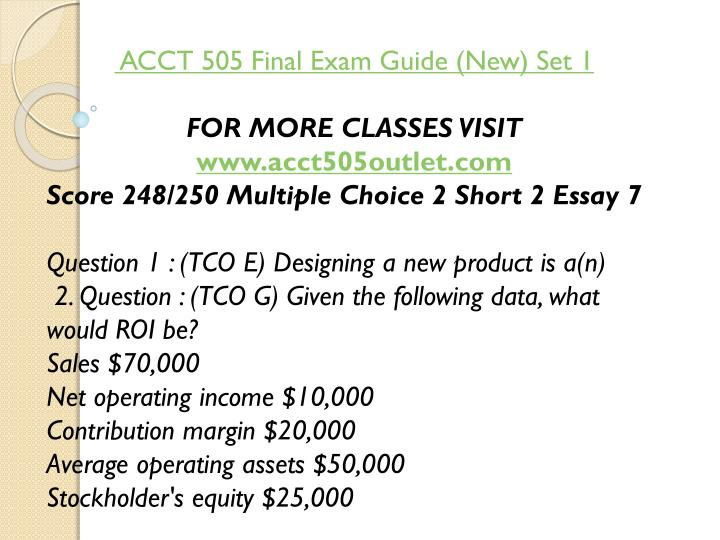 ACCT 505 Final Exam Guide (New) Set 1