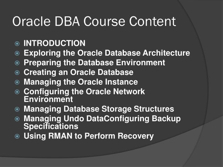 Oracle DBA Course Content
