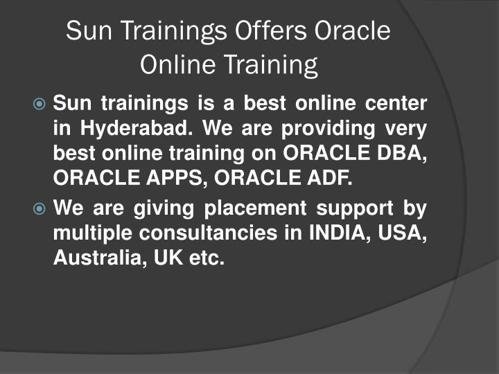 Sun trainings offers oracle online training