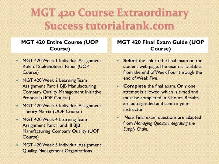 Mgt 420 course extraordinary success tutorialrank com1