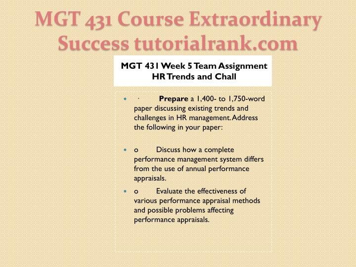 MGT 431 Week 5 Team Assignment HR Trends and Chall