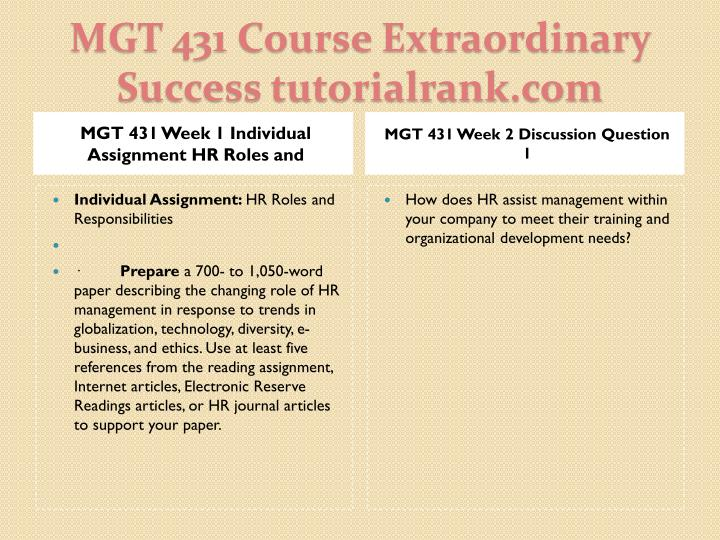 MGT 431 Week 1 Individual Assignment HR Roles and