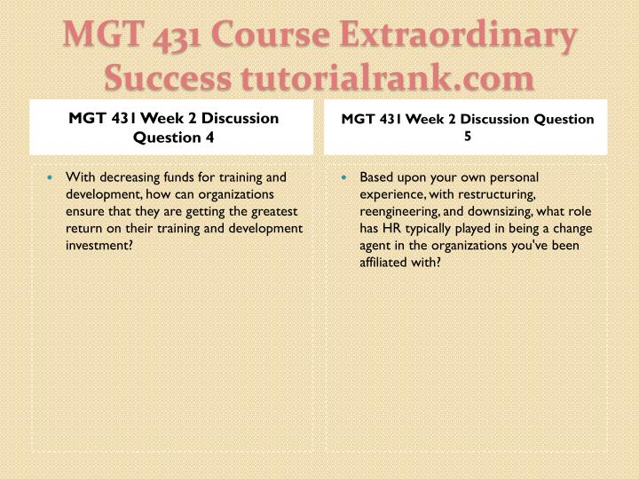 MGT 431 Week 2 Discussion Question 4