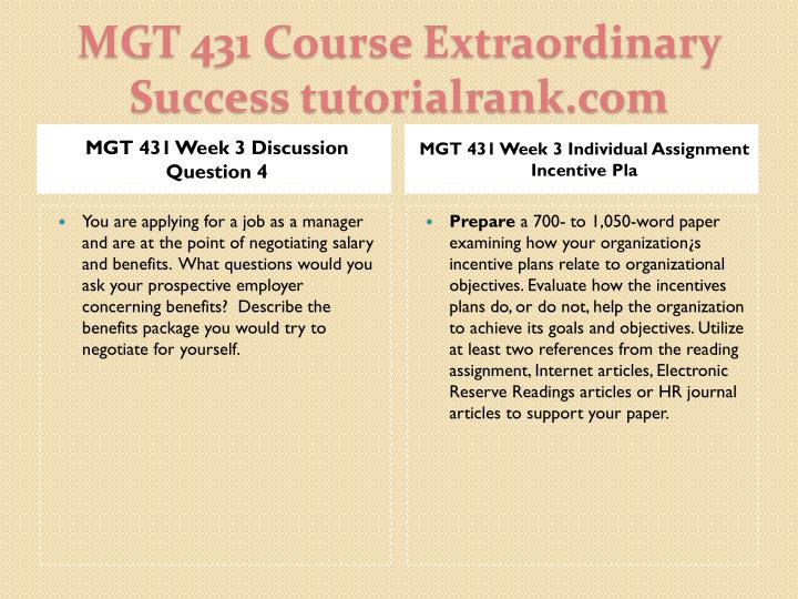 MGT 431 Week 3 Discussion Question 4