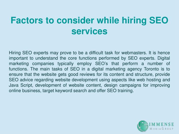 Factors to consider while hiring SEO services