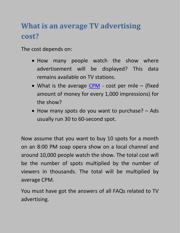 What is an average TV advertising