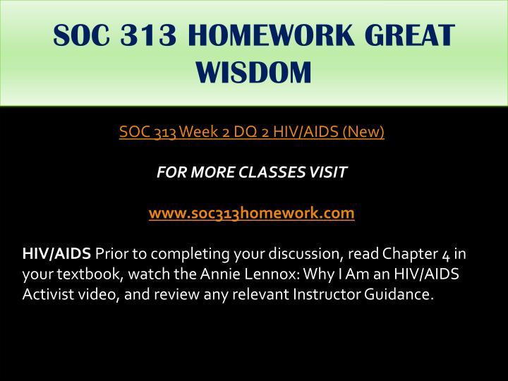 SOC 313 HOMEWORK GREAT WISDOM