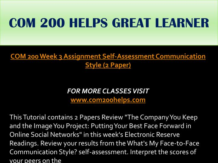COM 200 HELPS GREAT LEARNER