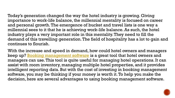 Today's generation changed the way the hotel industry is growing. Giving importance to work-life b...