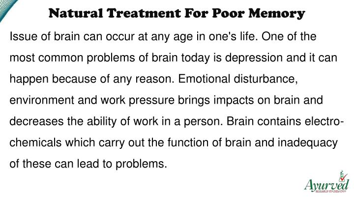 Natural Treatment For Poor Memory