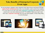 take benefits of enterprise corporate event apps