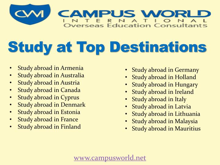 Study at Top Destinations