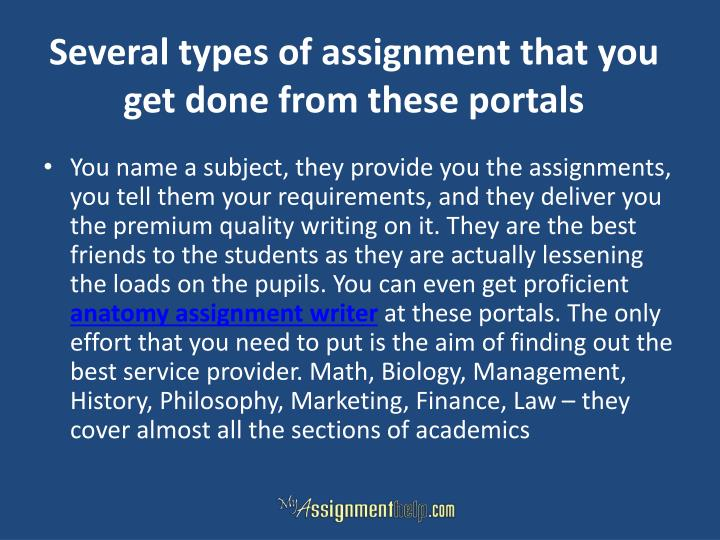 Several types of assignment that you get done from these portals