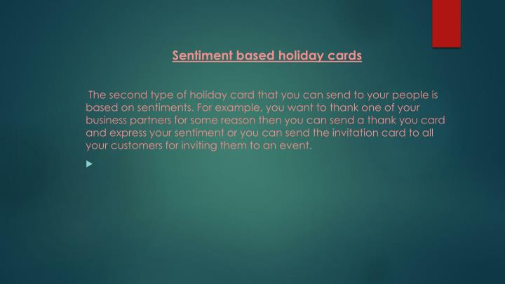 Sentiment based holiday cards