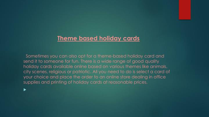 Theme based holiday cards