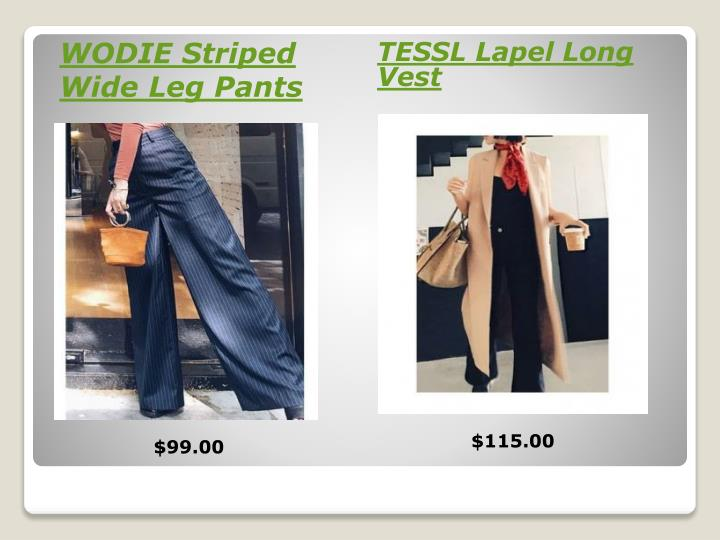 WODIE Striped Wide Leg Pants