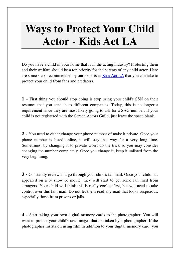 Ppt Ways To Protect Your Child Actor Kids Act La Powerpoint
