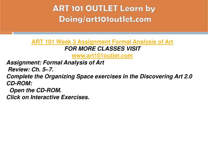ART 101 OUTLET Learn by