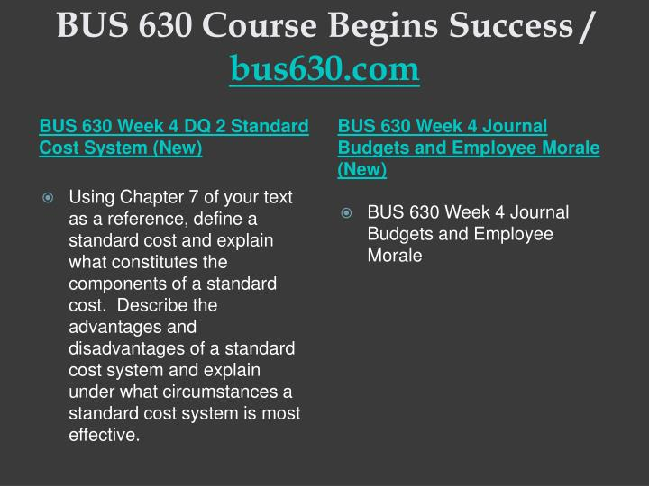 BUS 630 Course Begins Success /