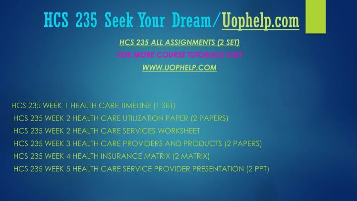 Hcs 235 seek your dream uophelp com1