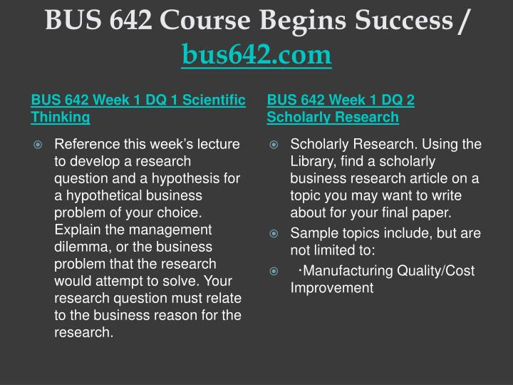 Bus 642 course begins success bus642 com2