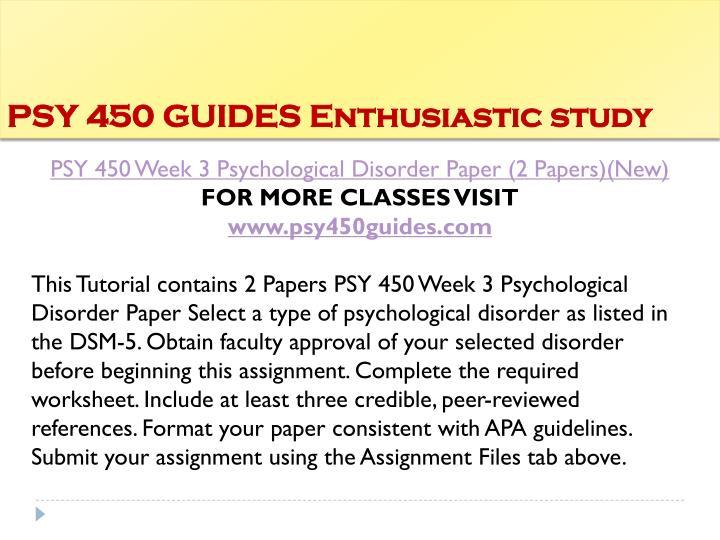 psy 450 week 4 psychological disorder paper