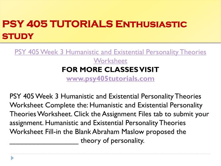humanistic and existential personality theories matrix