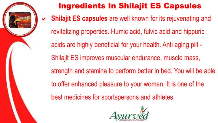 Ingredients In Shilajit ES Capsules
