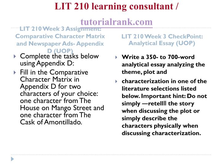 LIT 210 learning consultant /