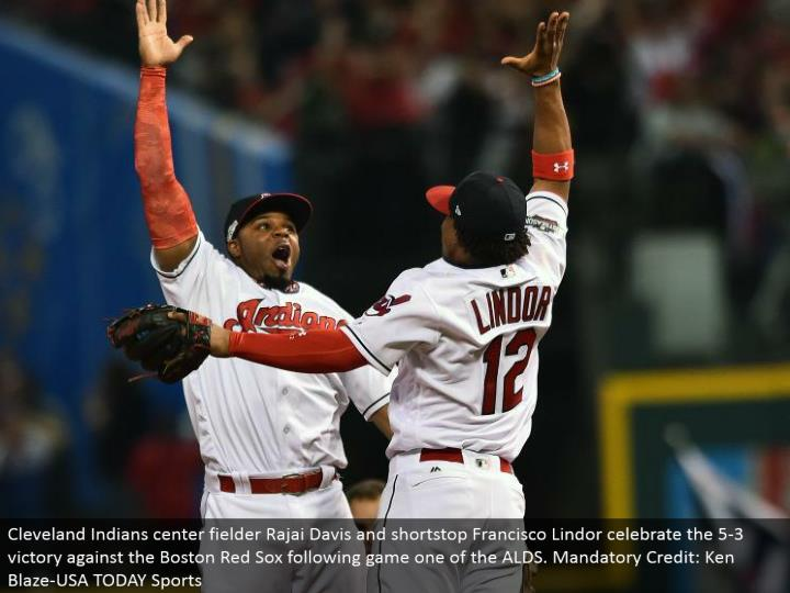 Cleveland Indians focus defender Rajai Davis and shortstop Francisco Lindor commend the 5-3 triumph against the Boston Red Sox taking after amusement one of the ALDS. Compulsory Credit: Ken Blaze-USA TODAY Sports