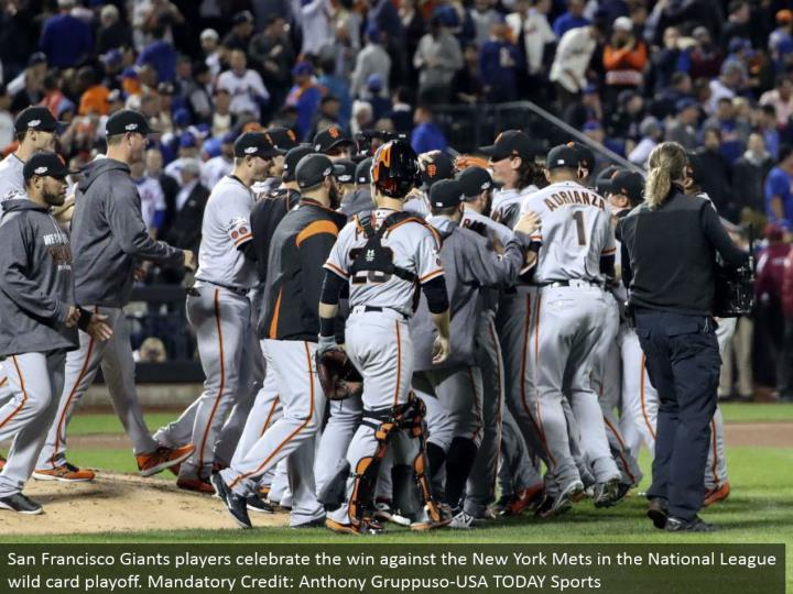San Francisco Giants players praise the win against the New York Mets in the National League special case playoff. Obligatory Credit: Anthony Gruppuso-USA TODAY Sports