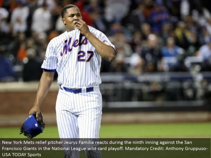 New York Mets help pitcher Jeurys Familia responds amid the ninth inning against the San Francisco Giants in the National League special case playoff. Compulsory Credit: Anthony Gruppuso-USA TODAY Sports
