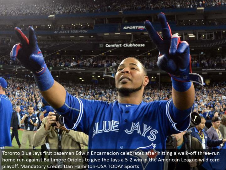 Toronto Blue Jays first baseman Edwin Encarnacion celebrates in the wake of hitting a stroll off three-run grand slam against Baltimore Orioles to give the Jays a 5-2 win in the American League special case playoff. Compulsory Credit: Dan Hamilton-USA TODAY Sports