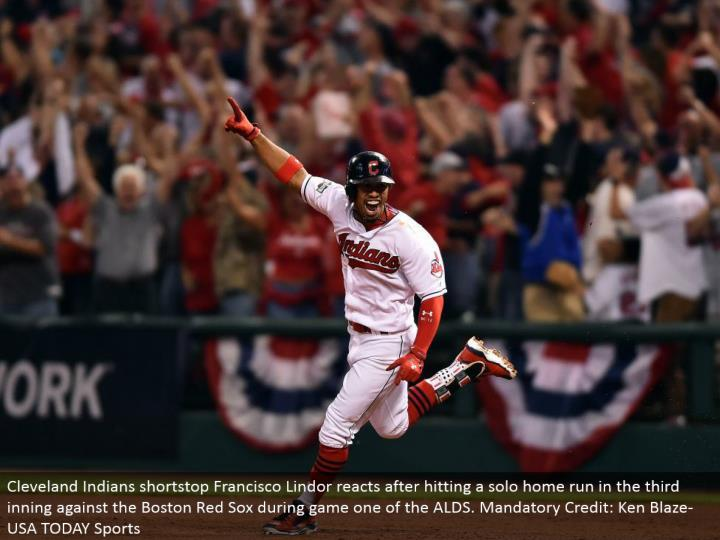 Cleveland Indians shortstop Francisco Lindor responds in the wake of hitting a performance grand slam in the third inning against the Boston Red Sox amid amusement one of the ALDS. Obligatory Credit: Ken Blaze-USA TODAY Sports