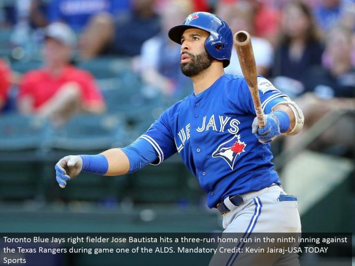 Toronto Blue Jays right defender Jose Bautista hits a three-run grand slam in the ninth inning against the Texas Rangers amid diversion one of the ALDS. Obligatory Credit: Kevin Jairaj-USA TODAY Sports