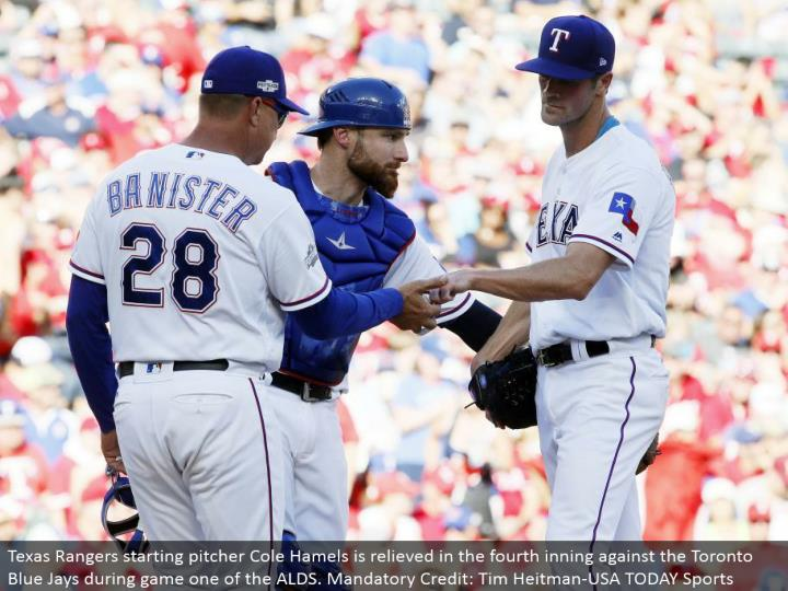 Texas Rangers beginning pitcher Cole Hamels is assuaged in the fourth inning against the Toronto Blue Jays amid diversion one of the ALDS. Compulsory Credit: Tim Heitman-USA TODAY Sports