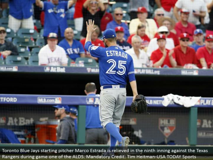 Toronto Blue Jays beginning pitcher Marco Estrada is calmed in the ninth inning against the Texas Rangers amid diversion one of the ALDS. Required Credit: Tim Heitman-USA TODAY Sports