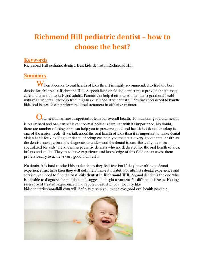Richmond Hill pediatric dentist