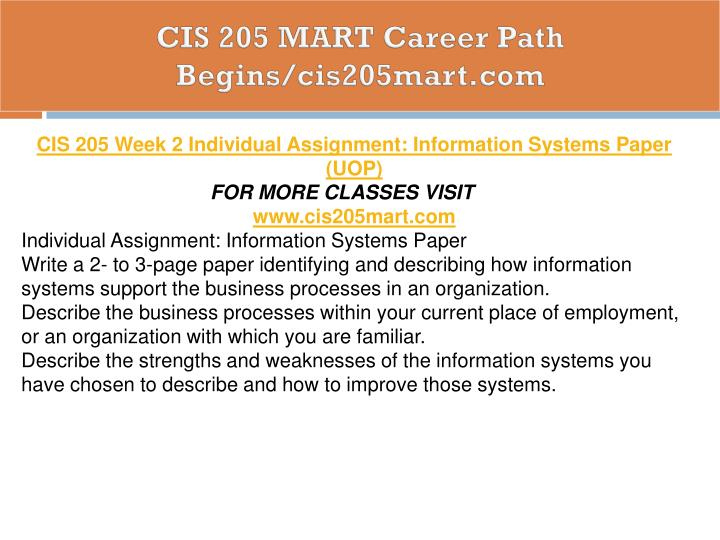CIS 205 MART Career Path Begins/cis205mart.com
