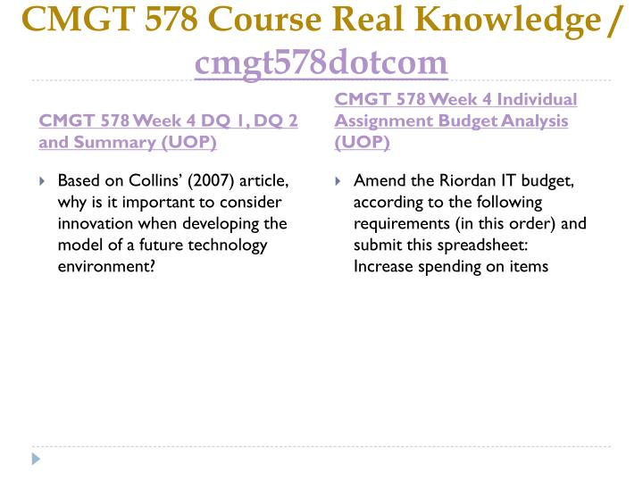 CMGT 578 Course Real Knowledge /