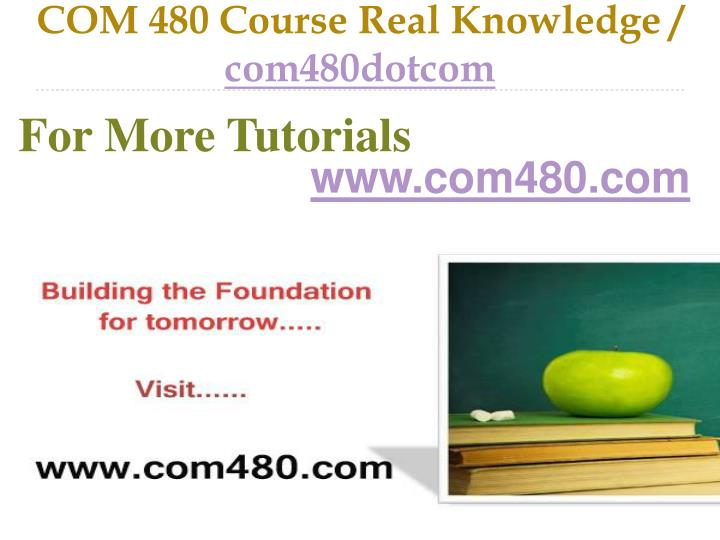 Com 480 course real knowledge com480dotcom