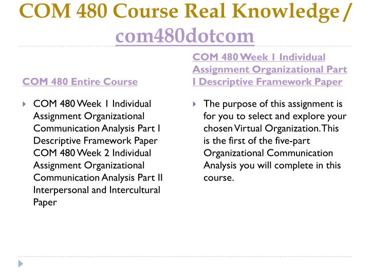 Com 480 course real knowledge com480dotcom1