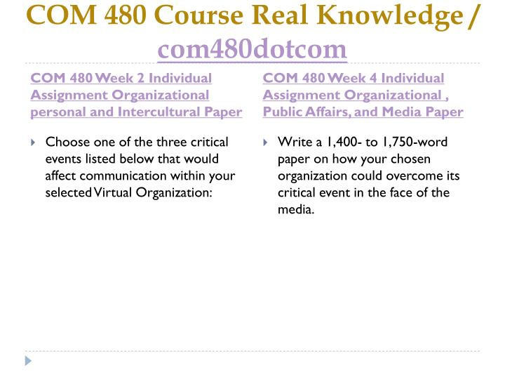 Com 480 course real knowledge com480dotcom2