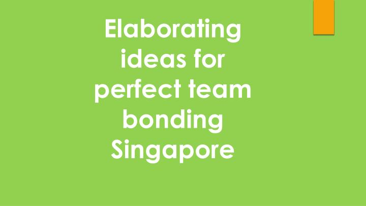Elaborating ideas for perfect team bonding Singapore