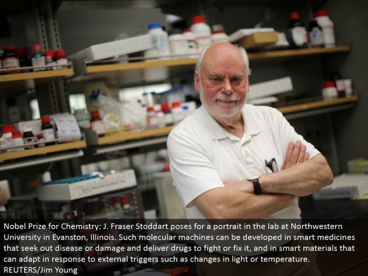Nobel Prize for Chemistry: J. Fraser Stoddart postures for a picture in the lab at Northwestern Univ...