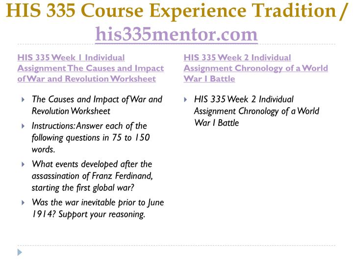 His 335 course experience tradition his335mentor com1