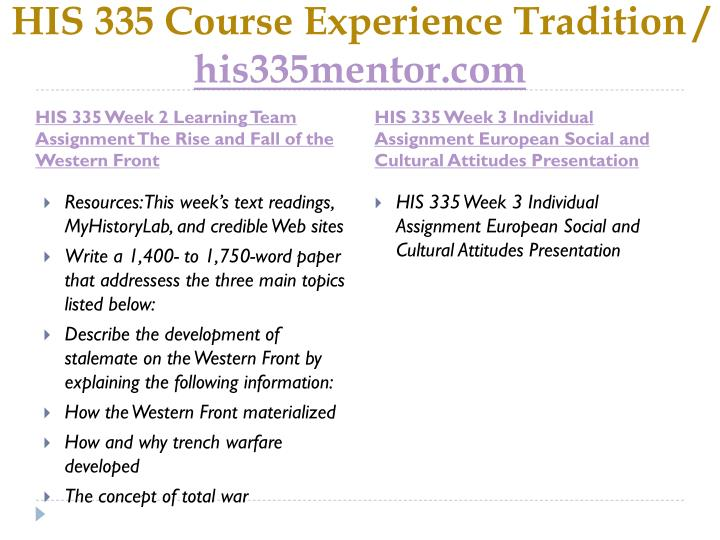 His 335 course experience tradition his335mentor com2