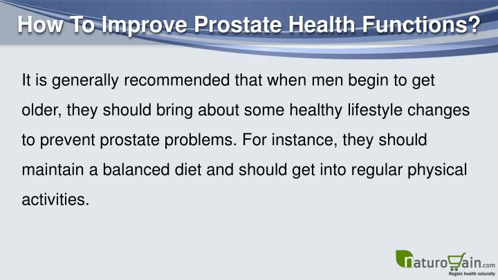 How To Improve Prostate Health Functions?