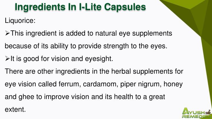 Ingredients In I-Lite Capsules